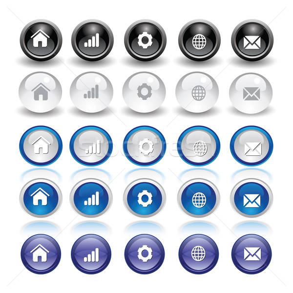 Round web buttons design elements Stock photo © archymeder