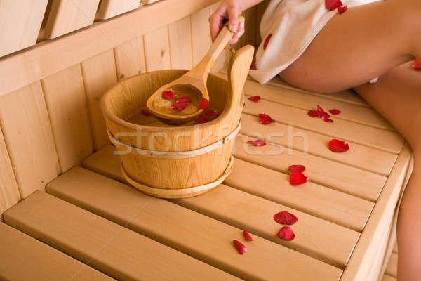 Nő szauna lány fa rózsa egészség Stock fotó © arcoss