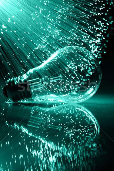 Fibre optique lumière fond lampe Photo stock © arcoss