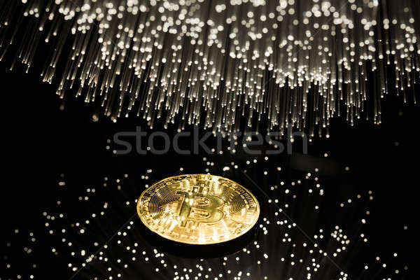 Bitcoin vezel optica licht business internet Stockfoto © arcoss