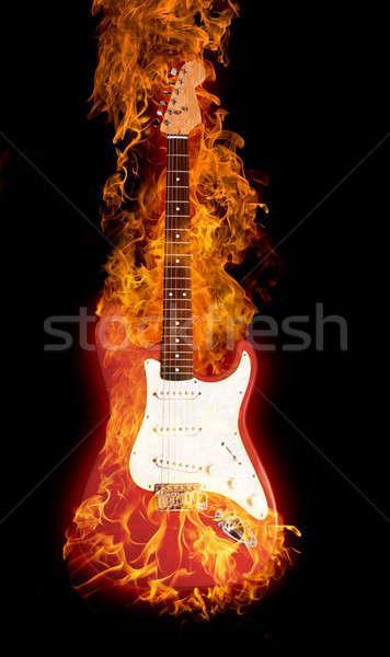 Fire electric guitar Stock photo © arcoss