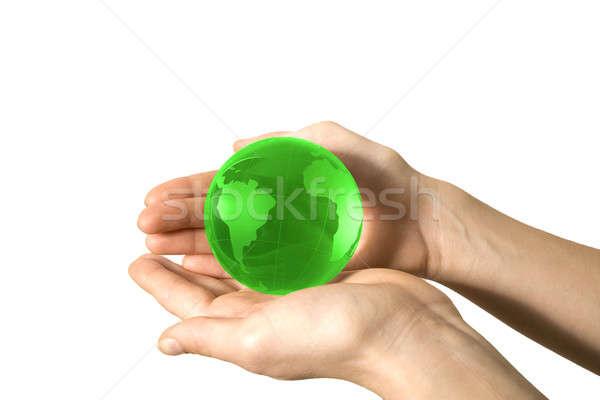Wereld hand kinderen kaart glas achtergrond Stockfoto © arcoss