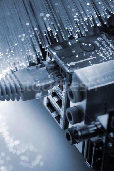 Stockfoto: Vezel · optica · licht · internet · server