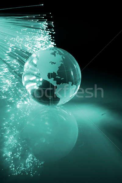 Fibra ottico mondo luce tecnologia sfondo Foto d'archivio © arcoss