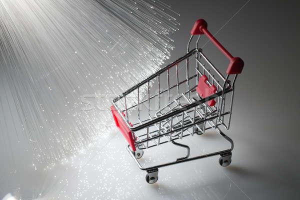 Winkelwagen vezel optica voedsel winkelen Rood Stockfoto © arcoss