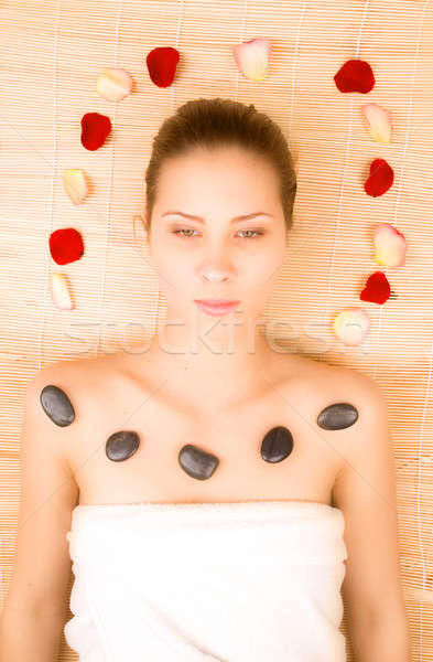 Beautiful young woman in spa center Stock photo © arcoss