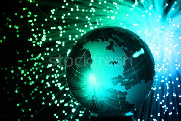 Włókno optyczny świecie świetle technologii tle Zdjęcia stock © arcoss