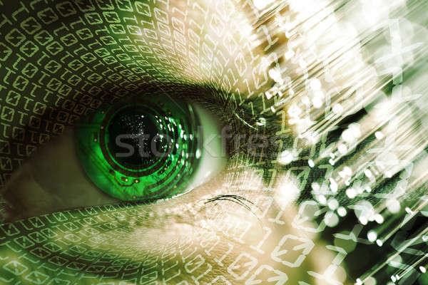 Szem elektronikus áramkör férfi technológia fény Stock fotó © arcoss