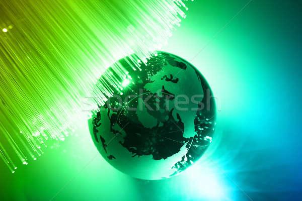 Fibra ottica luce mondo tecnologia Foto d'archivio © arcoss