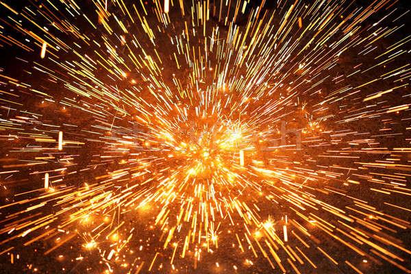 Iskra wybuchu ognia pracy streszczenie świetle Zdjęcia stock © arcoss