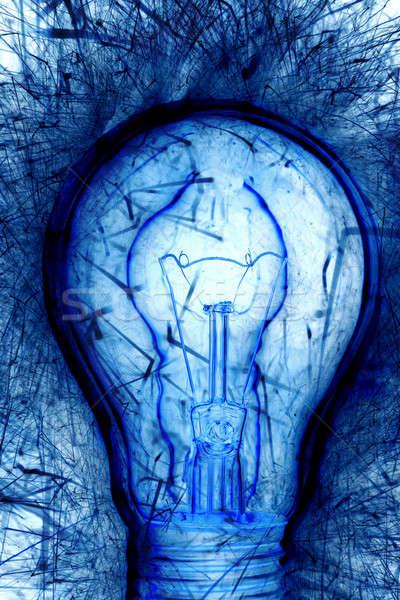 Stockfoto: Blauw · gloeilamp · papier · ontwerp · technologie · achtergrond
