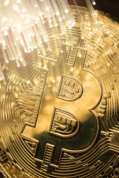 Stock photo: bitcoin with fibre optics light