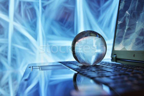 Notebook földgömb hálózat üzlet internet munka Stock fotó © arcoss