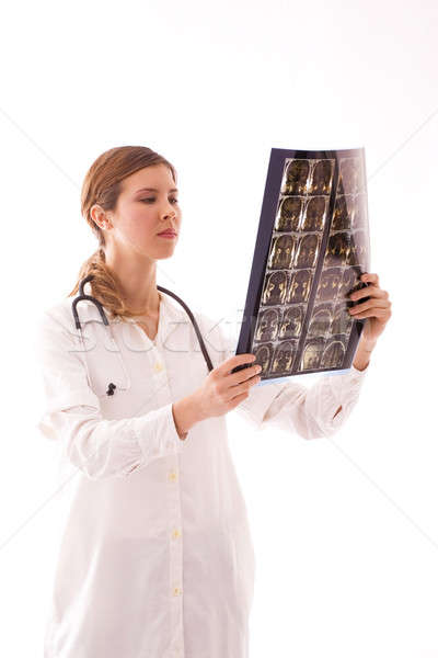 Young female doctor examines a radiogram. Stock photo © arcoss