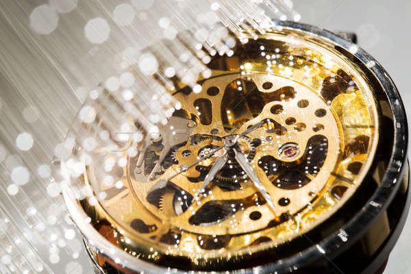 close view of watch mechanism and Fiber optics background Stock photo © arcoss