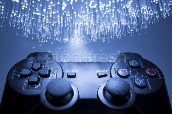 Сток-фото: игровой · контроллер · синий · свет · стороны · технологий · зеленый