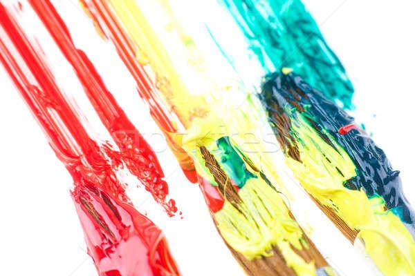 Gebruikt verf verschillend kleuren school onderwijs Stockfoto © arcoss