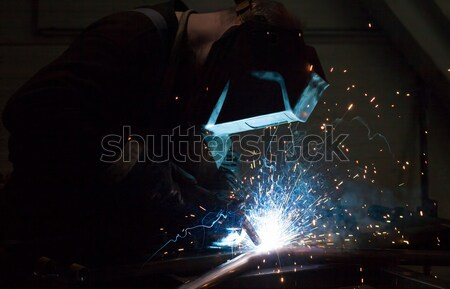 Industrial Worker at the factory welding closeup Stock photo © arcoss