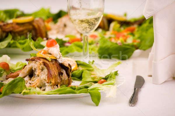 Hal bor étel gyógyszer vacsora tányér Stock fotó © arcoss