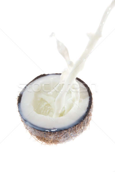 Сток-фото: кокосового · кокосовое · молоко · всплеск · дерево · фон · пить