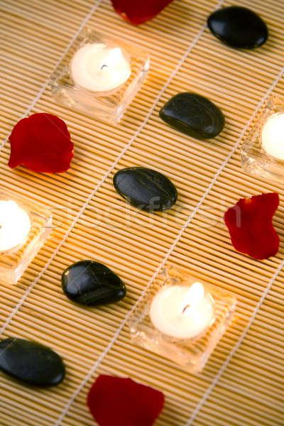 Spa rosa salute sfondo pietra nero Foto d'archivio © arcoss