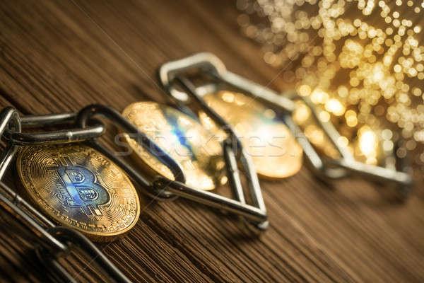Bitcoin цепь древесины бизнеса интернет металл Сток-фото © arcoss