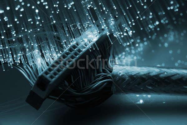 Fibra ottico fibra ottica blu luce Foto d'archivio © arcoss