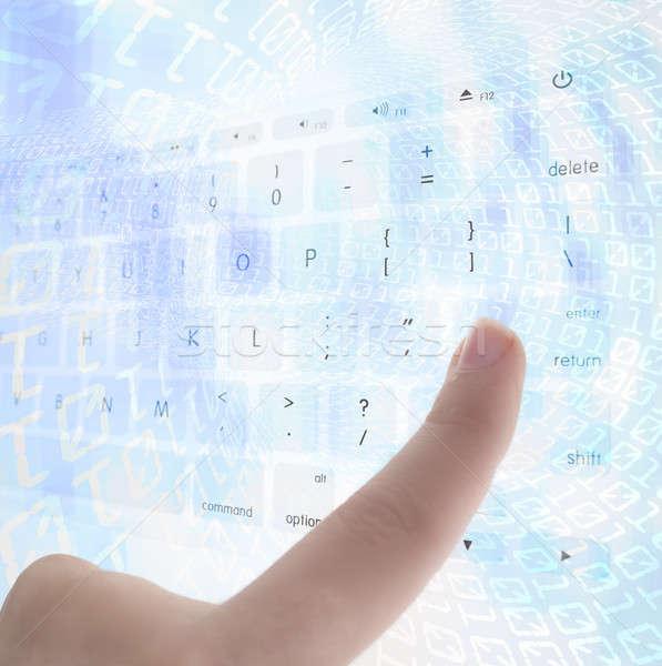 Stockfoto: Binaire · code · internet · abstract · licht · Blauw · snelheid