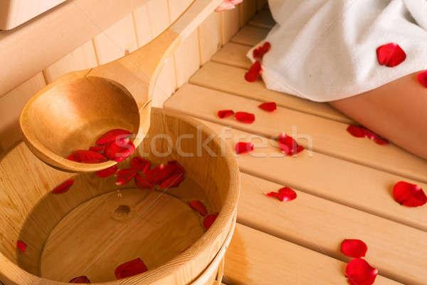 Steeg sauna meisje spa zorg lifestyle Stockfoto © arcoss