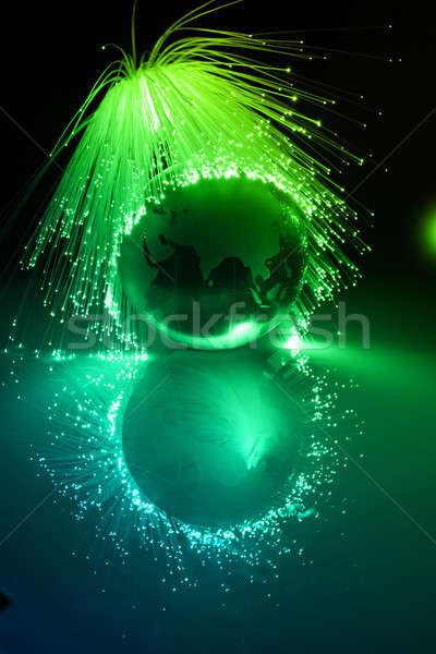 Vezel optische wereldbol licht wereld technologie Stockfoto © arcoss