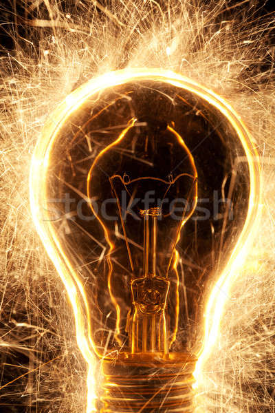 Stockfoto: Lamp · zwarte · partij · brand · abstract · nacht