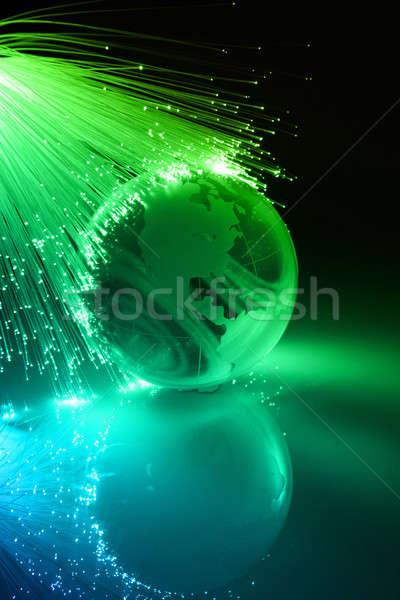Vezel optische wereldbol licht technologie achtergrond Stockfoto © arcoss