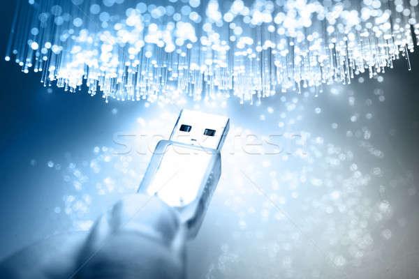 Fibre optique lumière technologie fond Photo stock © arcoss