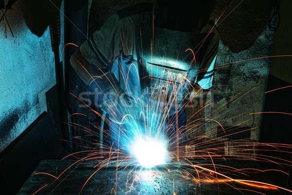 Industrial trabalhador fábrica soldagem fogo Foto stock © arcoss