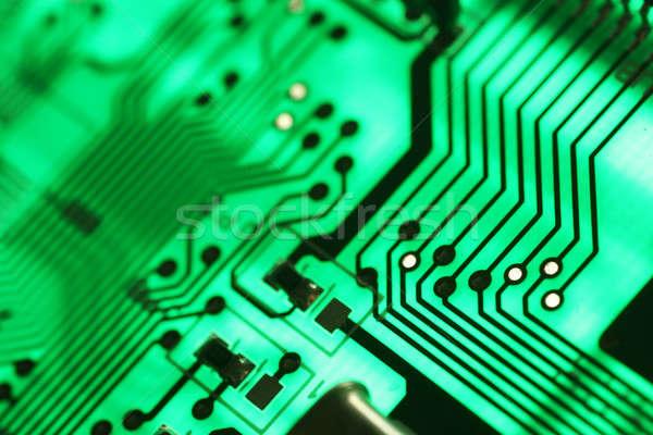 Elektronica technologie groene achtergrond wetenschap communicatie Stockfoto © arcoss