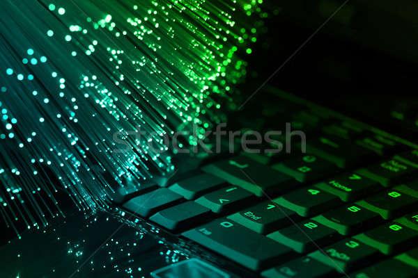 Stockfoto: Vezel · optische · vezel · optica · Blauw · licht