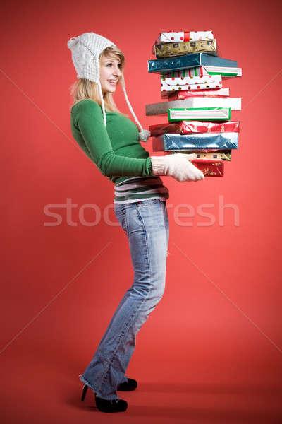 Stockfoto: Kaukasisch · meisje · geschenken · mooie
