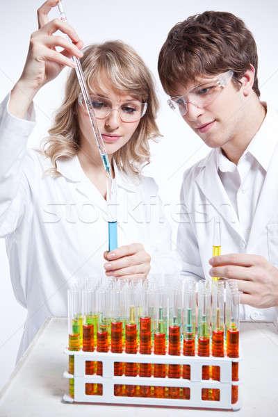 Werken wetenschappers shot mannelijke vrouwelijke kaukasisch Stockfoto © aremafoto