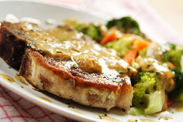 Porc pan frit légumes coco Photo stock © aremafoto