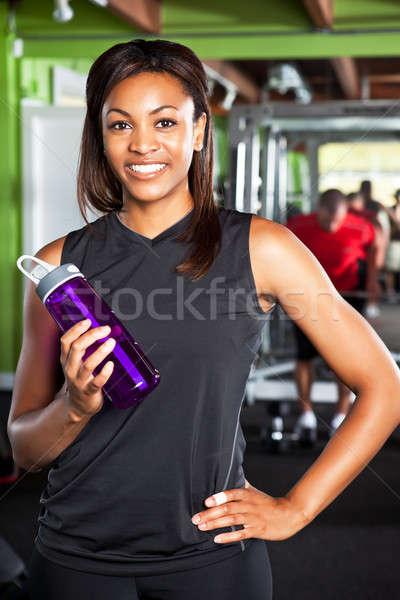 Vrouwelijke atleet shot gelukkig zwarte Stockfoto © aremafoto