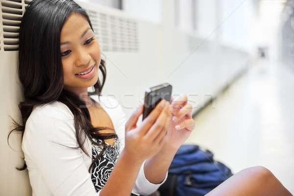 ストックフォト: アジア · 学生 · ショット · 電話 · キャンパス