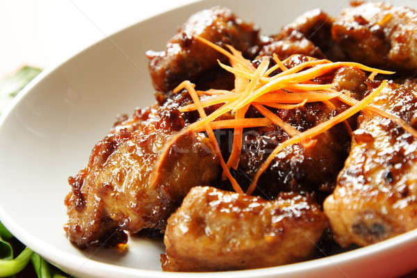 Disznóhús fölösleges borda édes chili mártás Stock fotó © aremafoto