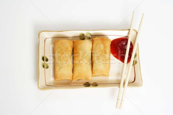 Huevo crujiente placa primavera alimentos Foto stock © aremafoto