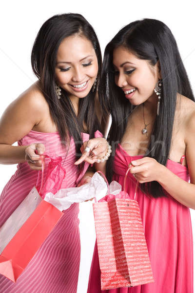 Asian women receiving valentine gifts Stock photo © aremafoto