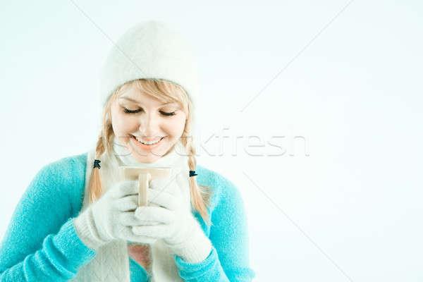 Kız içme kahve güzel kafkas sıcak Stok fotoğraf © aremafoto