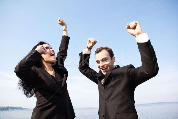 Mutlu iş adamları atış iki iş arkadaşları Stok fotoğraf © aremafoto