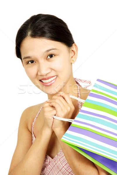 Foto stock: Compras · mulher · jovem · mulher · bonita