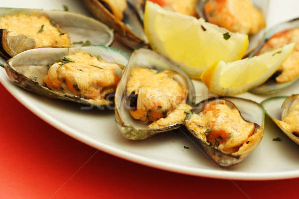 Baked mussels Stock photo © aremafoto