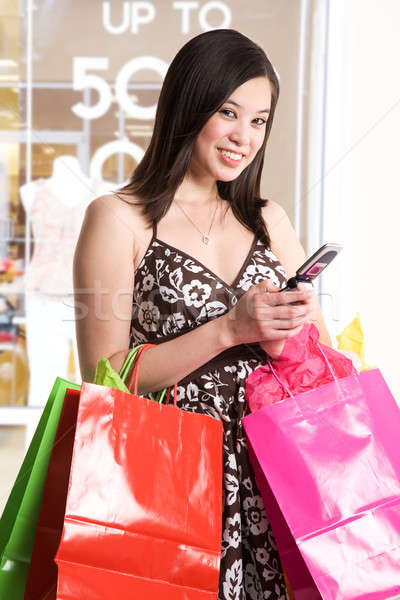 Stockfoto: Winkelen · vrouw · shot · mooie · asian