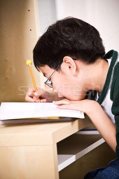 Studeren kid shot asian home school Stockfoto © aremafoto